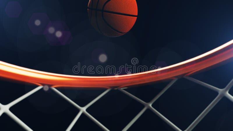 illustration 3D av basketbollen som faller i ett beslag stock illustrationer