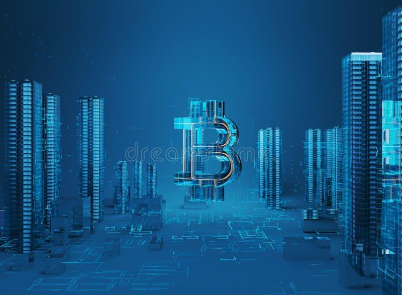 illustration 3D av bitcoinsymbolresningen från modern stad på stranden vektor illustrationer