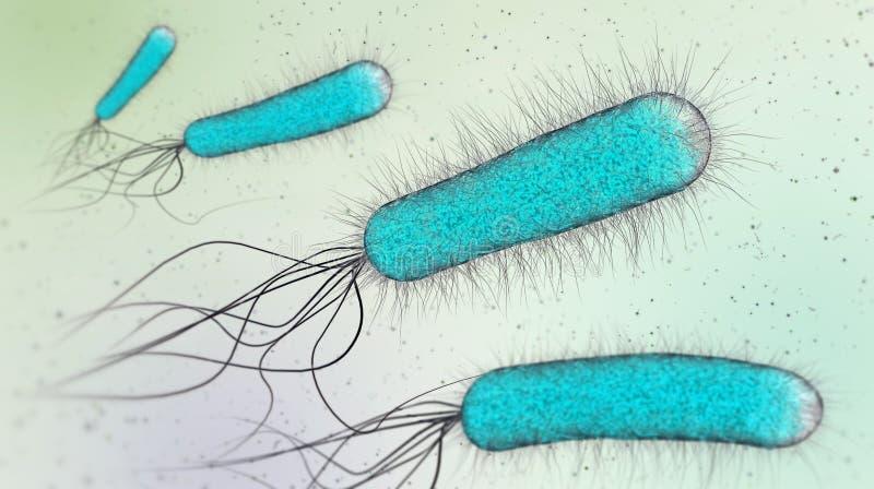 illustration 3d av blåa transperent bakterier eller enkla cellmikroorganismer vektor illustrationer