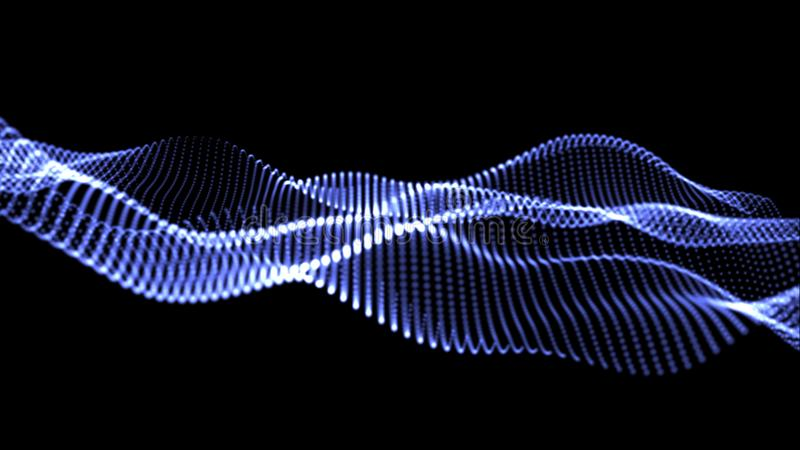 illustration 3D av blåa vågor av många ljus royaltyfria bilder