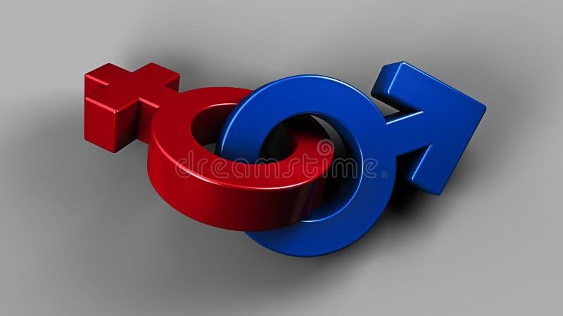 illustration 3D av bygga bo Pinky Female och blåa manliga symboler fotografering för bildbyråer