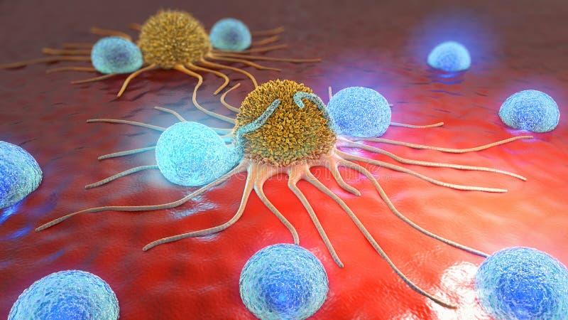 illustration 3d av cancerceller och lymphocytes arkivfoto