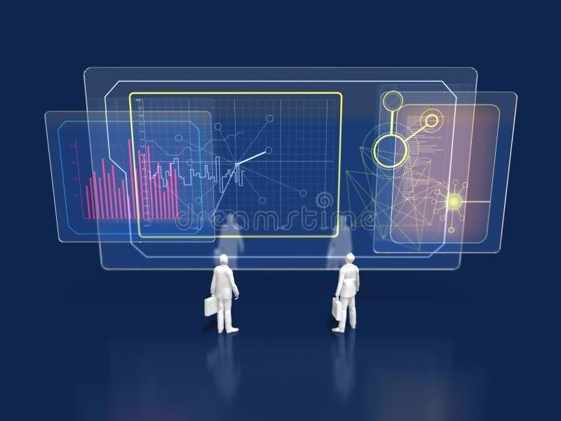 illustration 3D av dagslägeanalys stock illustrationer