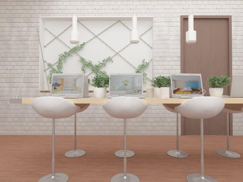 illustration 3D av datorer på tabellen, gröna växter och stolar royaltyfri illustrationer