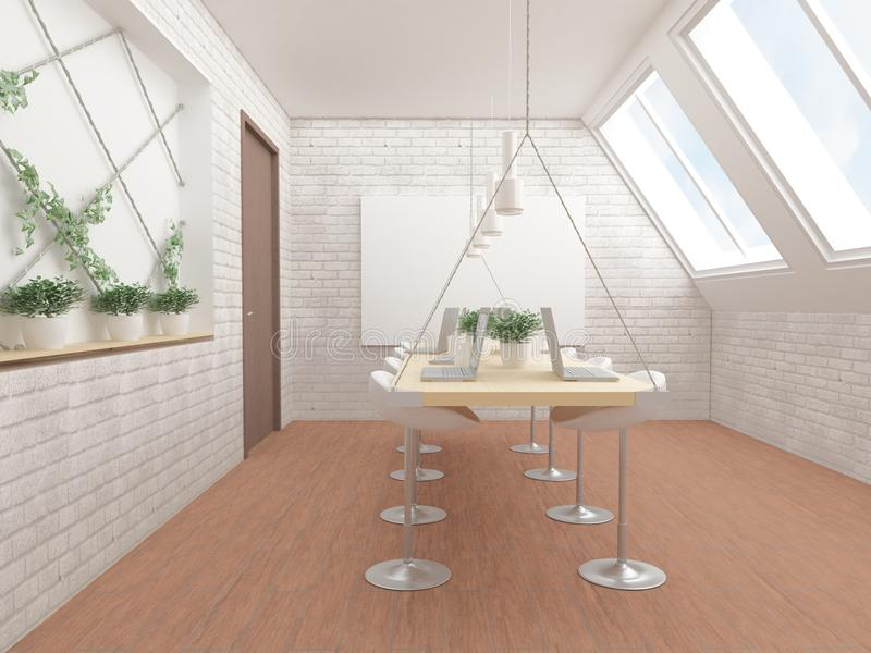 illustration 3D av datorer på tabellen, gröna växter och stolar stock illustrationer