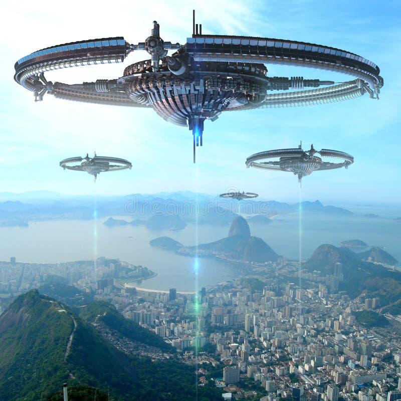 illustration 3D av den futuristiska energikällan i Rio De Janeiro vektor illustrationer