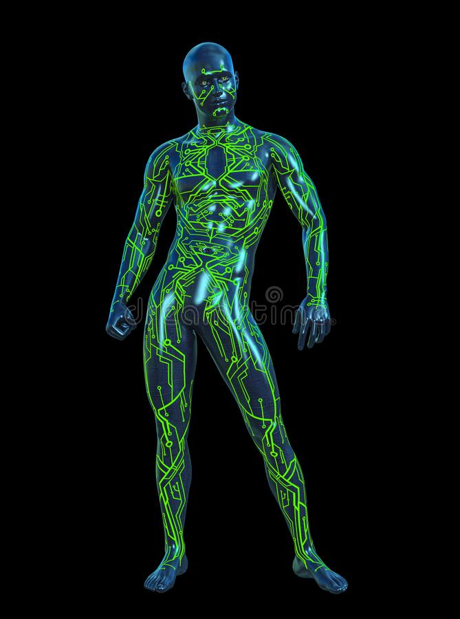 illustration 3D av den futuristiska mancyborgen för elektronisk strömkrets vektor illustrationer