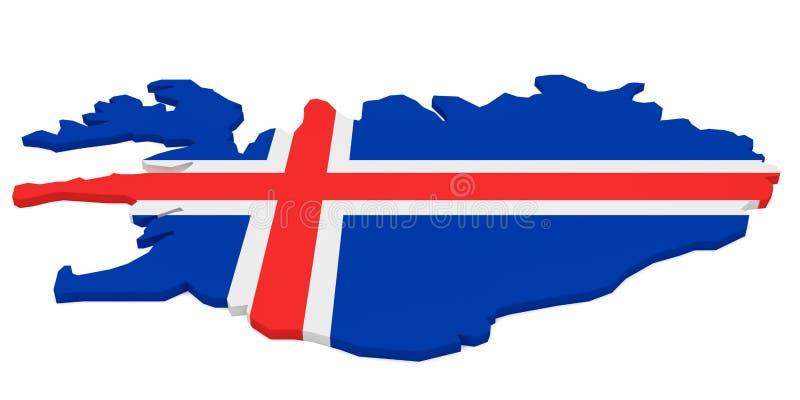illustration 3d av den Island översikten med den isländska flaggan som isoleras på vit royaltyfri illustrationer