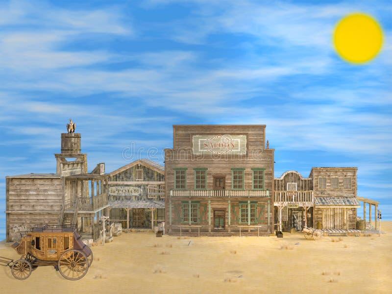 illustration 3D av den klassiska gamla öde västra staden vektor illustrationer