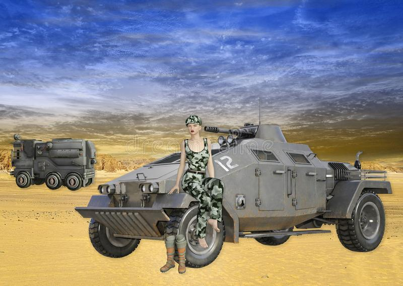 illustration 3D av den kvinnliga soldaten Sitting på militärfordonet stock illustrationer