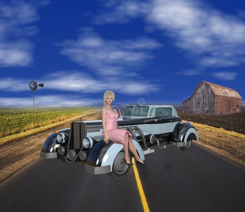 illustration 3D av den Retro Americana platsen för 30-tal fotografering för bildbyråer
