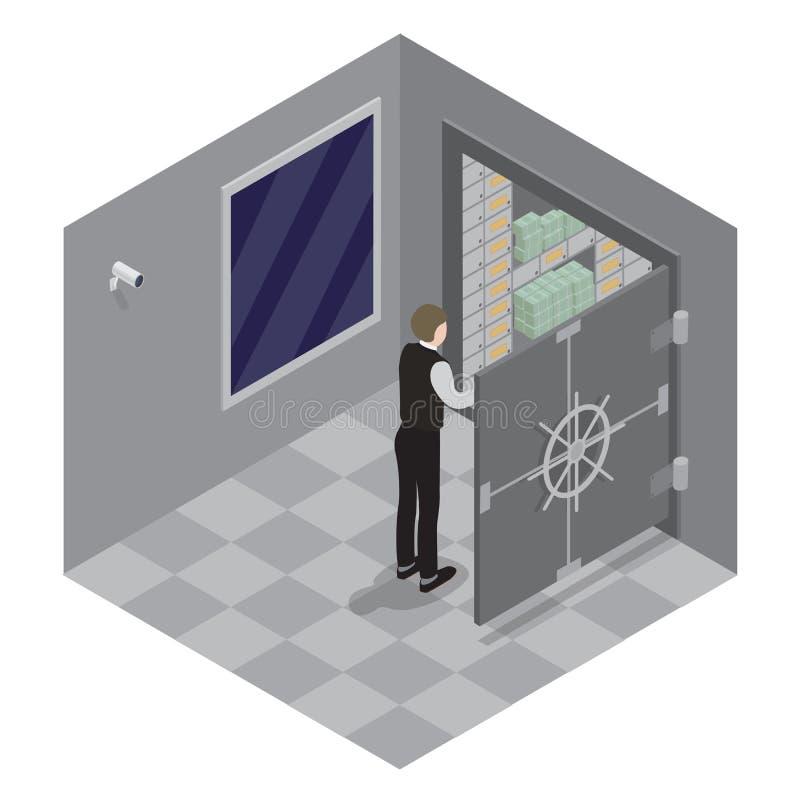 illustration 3d av den stängda stålsafen över vit bakgrund Öppen dörr av bankkassaskåpet Bankvalv vektor illustrationer