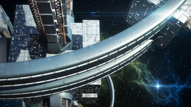 illustration 3D av det främmande rymdskeppet stock illustrationer