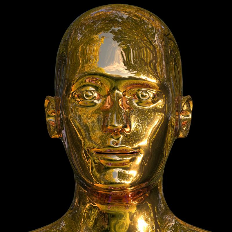 illustration 3d av det guld- skottet för mänskligt huvud, stående av den enkla manframsidan vektor illustrationer