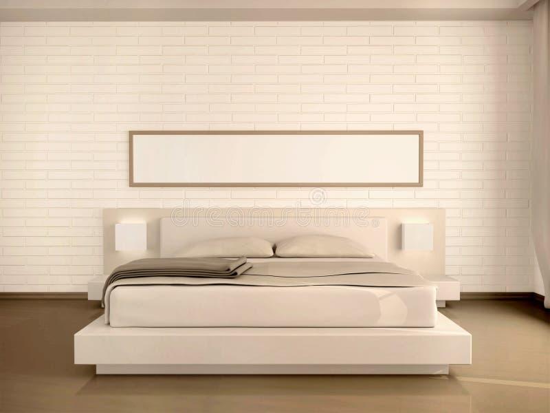 illustration 3d av det inre moderna ljusa sovrummet stock illustrationer