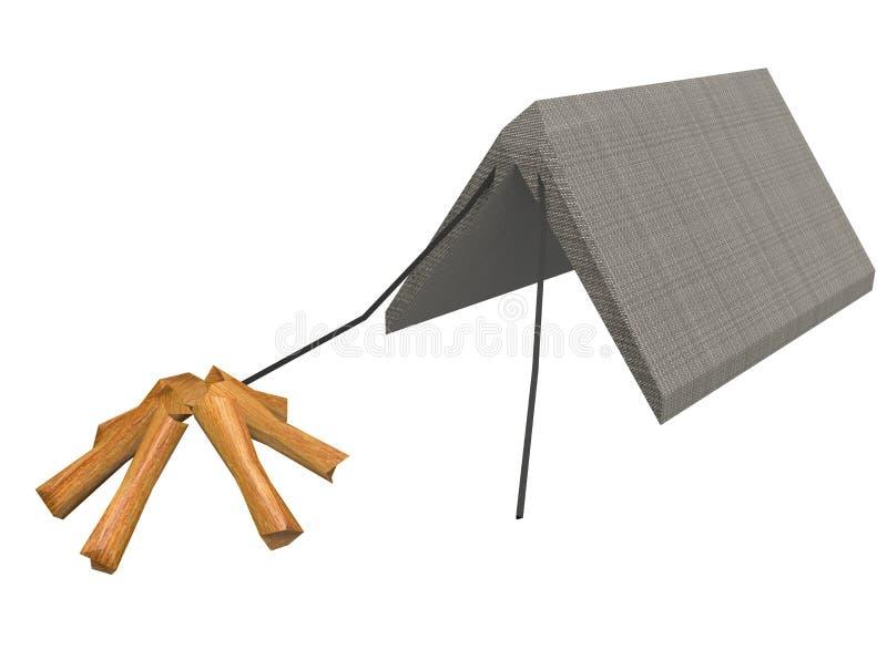 illustration 3d av det låga poly lägertältet med wood journaler stock illustrationer