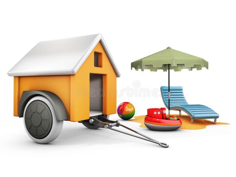 illustration 3d av det mobila släphuset med solparaplyet, stol och leksaker vektor illustrationer