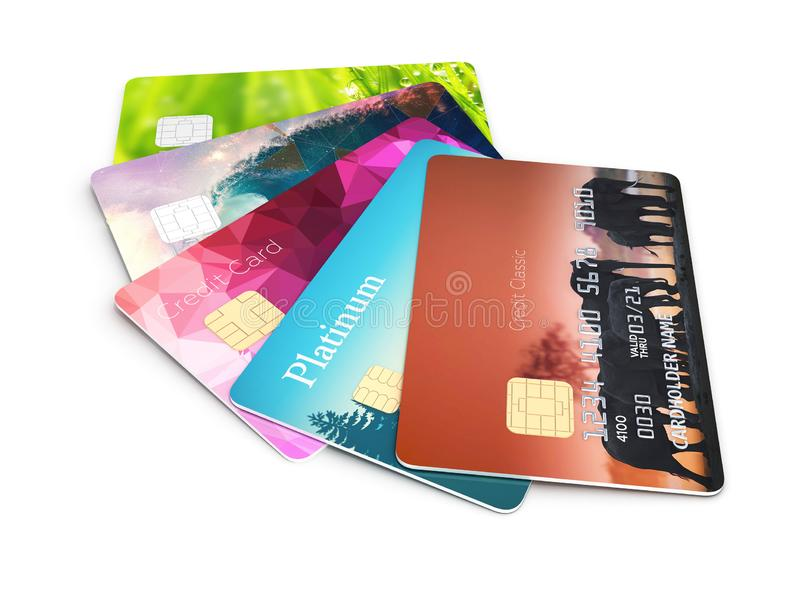 illustration 3d av detaljerade glansiga kreditkortar som isoleras på vit bakgrund vektor illustrationer