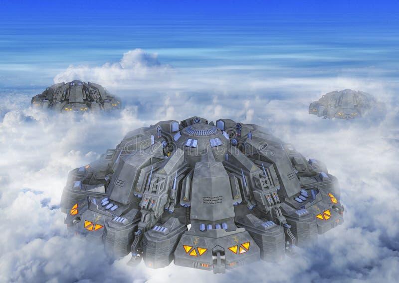 illustration 3D av en främmande invasion för ufo royaltyfri foto
