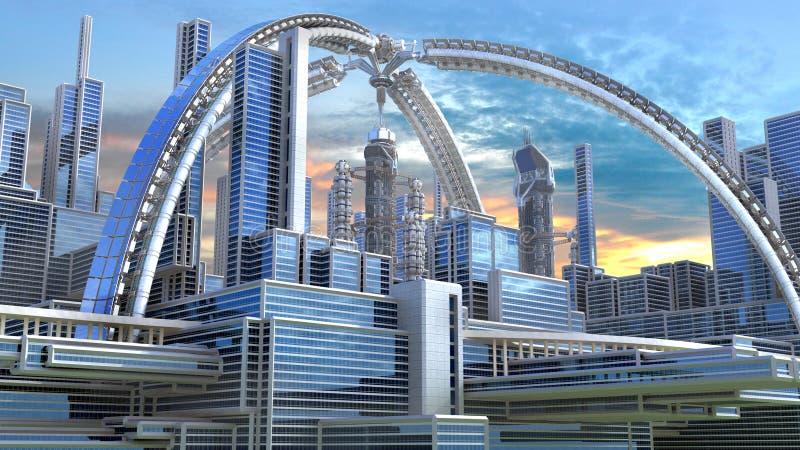 illustration 3D av en futuristisk stad royaltyfri illustrationer