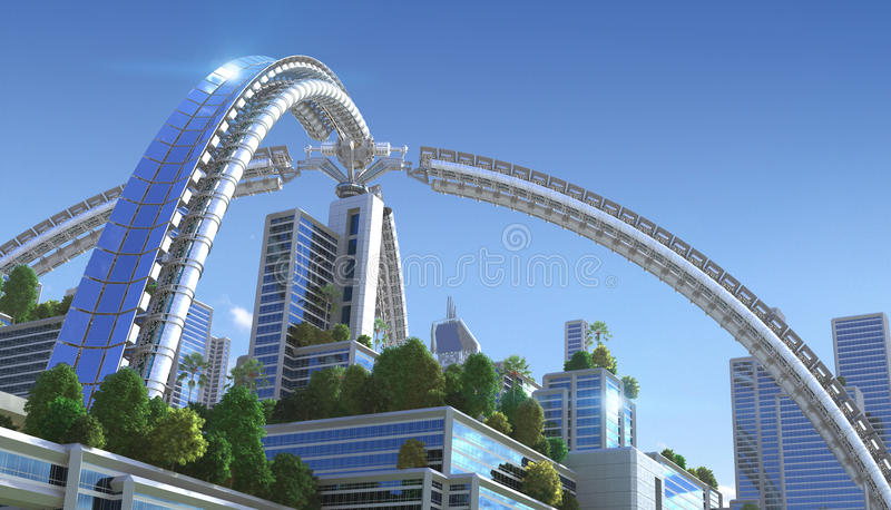 illustration 3D av en futuristisk stad vektor illustrationer
