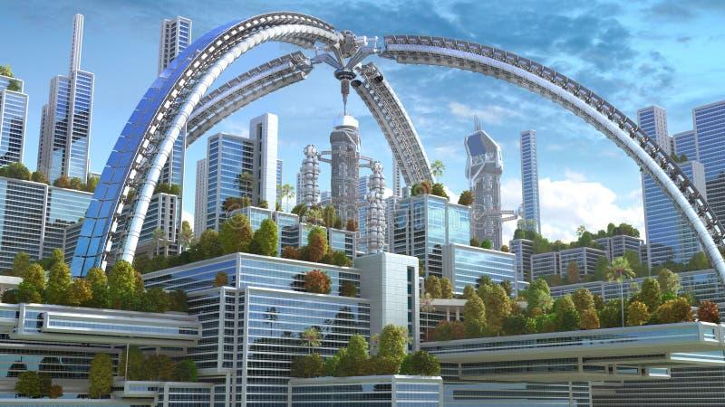 illustration 3D av en futuristisk stad stock illustrationer