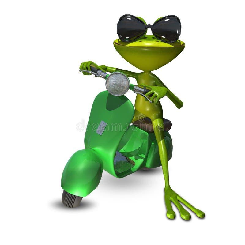 illustration 3D av en groda på en motorisk sparkcykel stock illustrationer