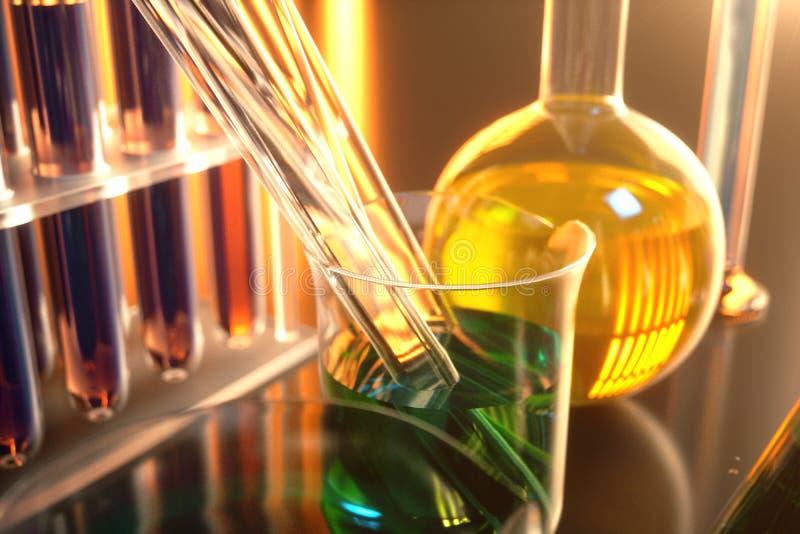illustration 3d av en kemisk reaktion, begreppet av ett vetenskapligt laboratorium på en blå bakgrund Flaskor som fylls med royaltyfri illustrationer