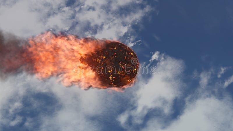 illustration 3D av en meteorit som är brinnande upp i atmosfären för jord` s royaltyfri illustrationer