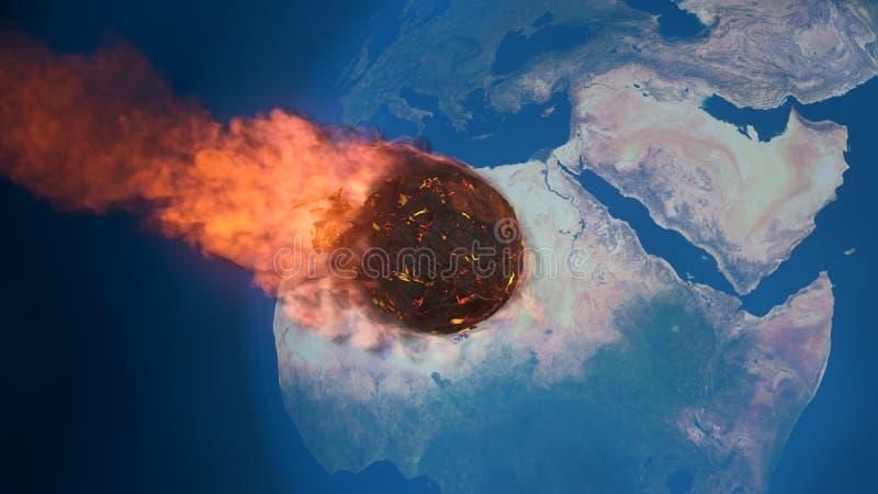 illustration 3D av en meteorit som är brinnande upp i mesospheren för jord` s vektor illustrationer