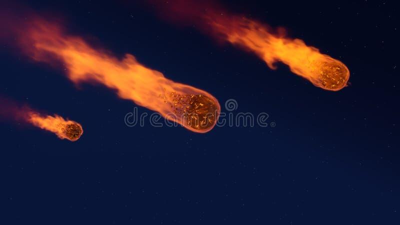 illustration 3D av en meteorregn royaltyfri illustrationer