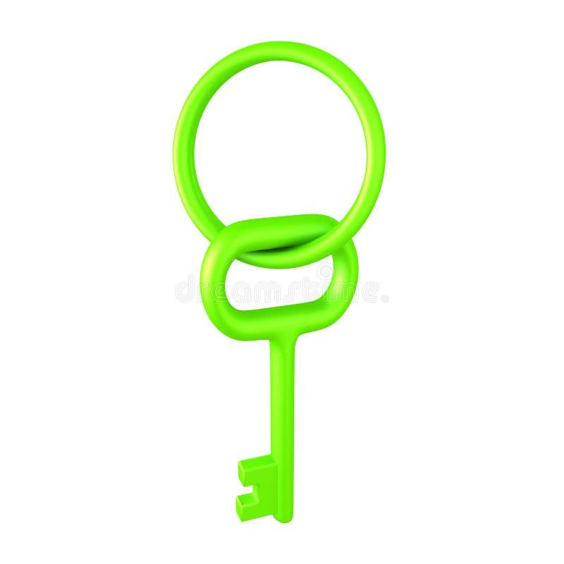 illustration 3D av en skinande nyckel- och nyckel- kedja för gräsplan royaltyfri illustrationer