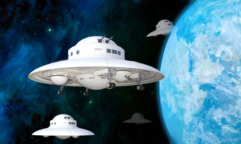 illustration 3D av en ufoskvadron som att närma sig jord royaltyfri bild