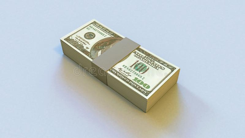 illustration 3D av ett däck av pengar 100 dollar arkivfoton