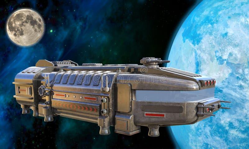 illustration 3D av ett futuristiskt lastfartyg som att närma sig jord royaltyfri foto
