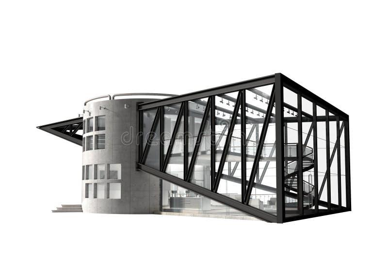 illustration 3D av ett futuristiskt lyxigt hus vektor illustrationer