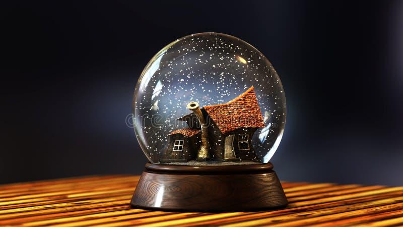illustration 3D av ett krökt gammalt som göras av kusligt hus för sten med en lampglas stock illustrationer