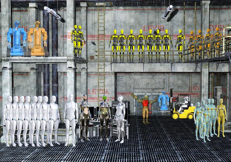 illustration 3D av ett robotlager royaltyfri illustrationer