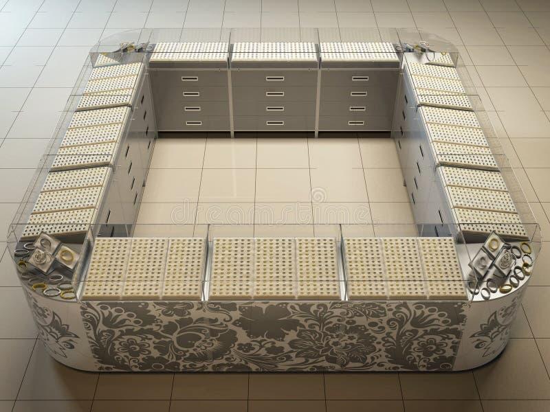 illustration 3D av ett uttag i stormarknad på försäljning av guld och royaltyfri illustrationer
