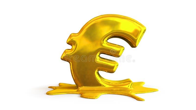 illustration 3D av eurosymbolsmältning royaltyfri illustrationer