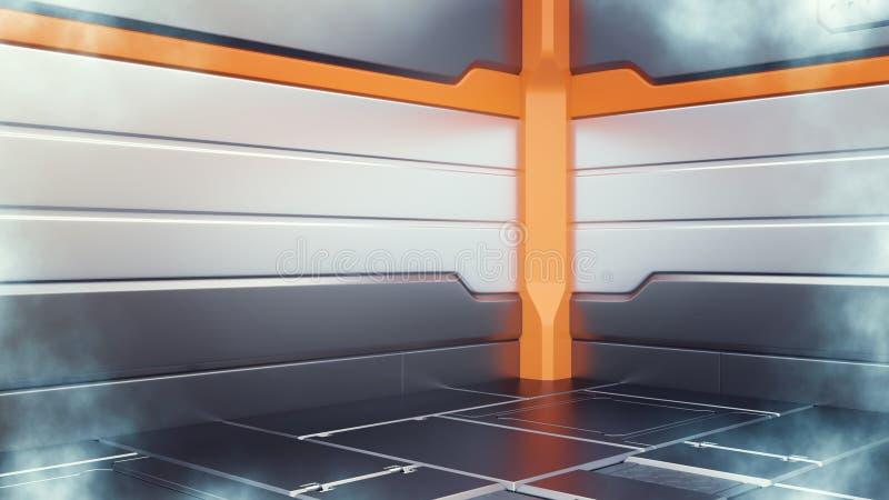 illustration 3d av för fryslantgård för science fiction den lågtemperatur- inre för korridor royaltyfri illustrationer