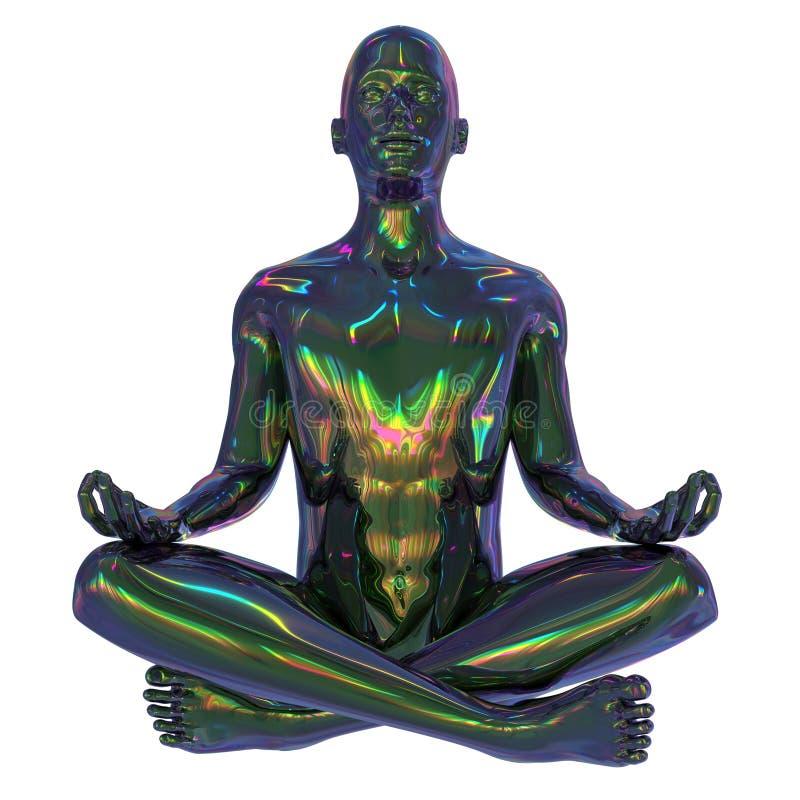 illustration 3d av för guruzen för järn det färgrika mänskliga mentala teckenet royaltyfri illustrationer