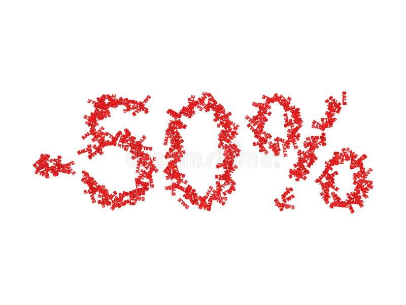 illustration 3D av 50 femtio procent - rabatt royaltyfri illustrationer