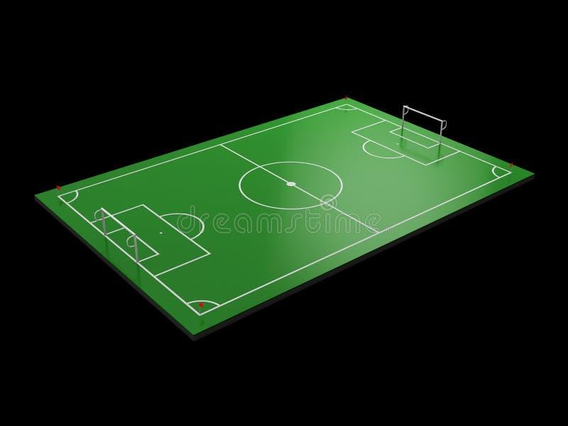 illustration 3d av fotbollfältet, isolerad svart för fotbollfält stock illustrationer