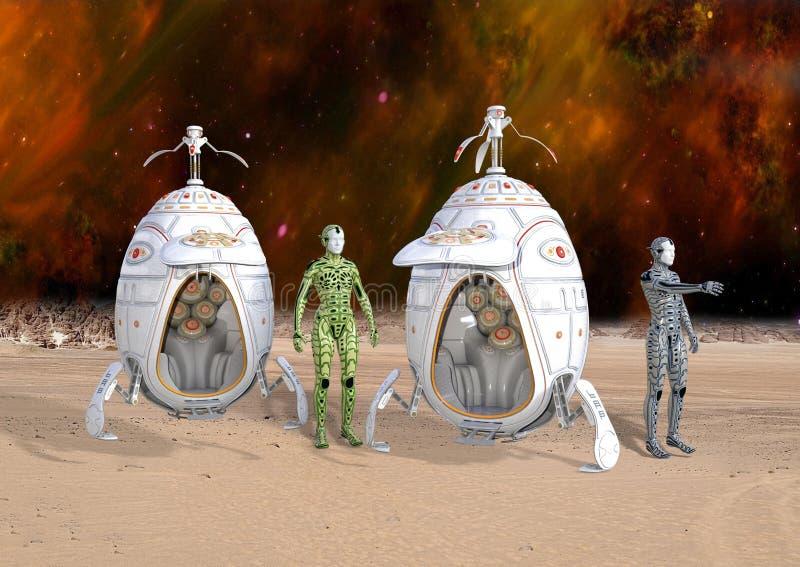 illustration 3D av futuristiska Cyborgandroider som landar på den avlägsna planeten arkivbilder