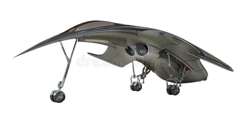illustration 3D av futuristiskt flygplan stock illustrationer