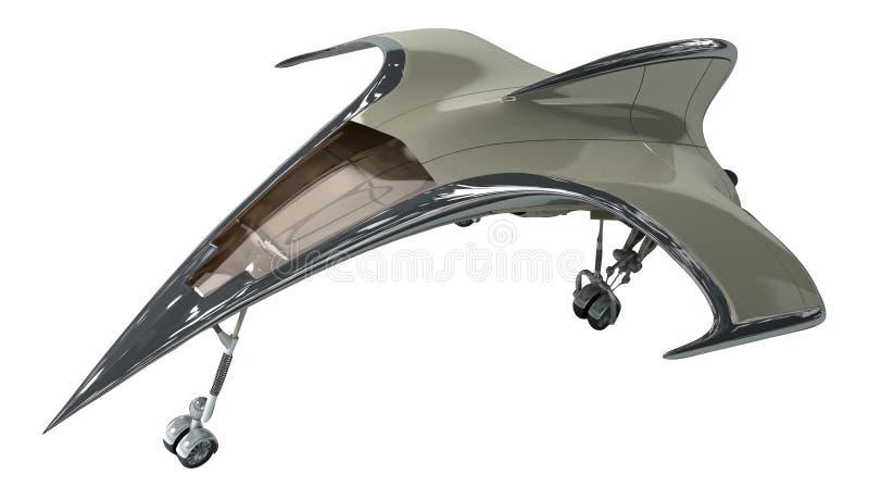 illustration 3D av futuristiskt flygplan vektor illustrationer