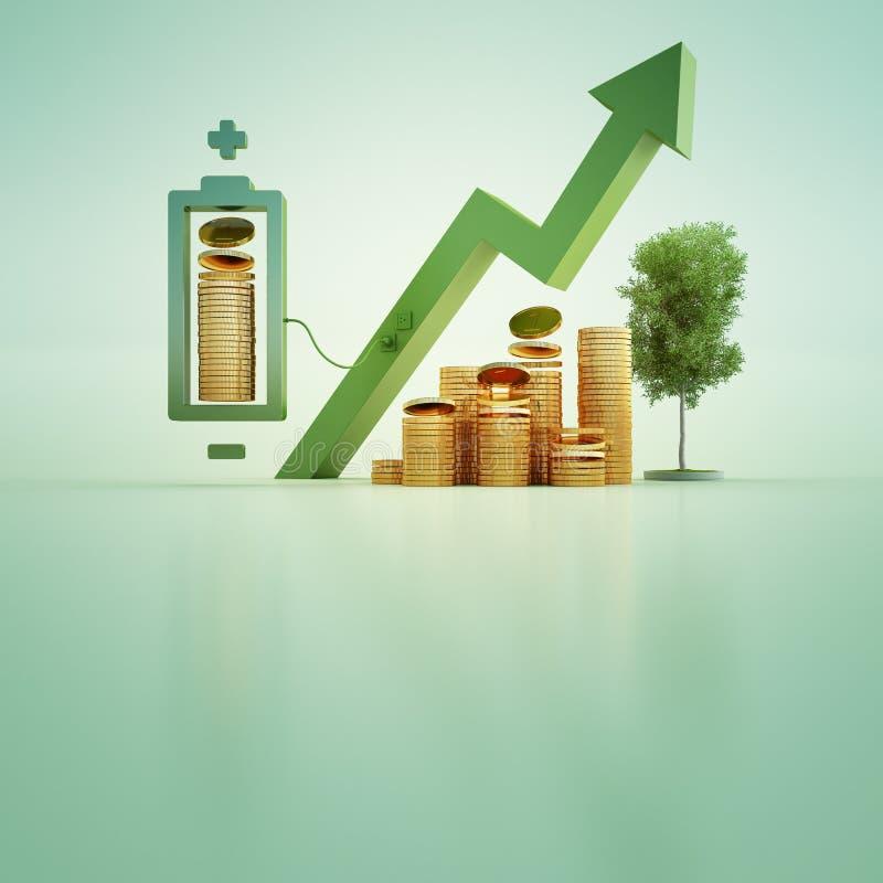 illustration 3d av guld- mynt med batteriet och trädet på grön bakgrund i affärstillväxt- eller ekologibegrepp vektor illustrationer
