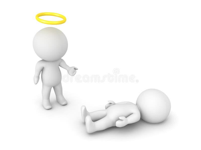 illustration 3D av helgonet eller ängeln bredvid en person som har passe stock illustrationer
