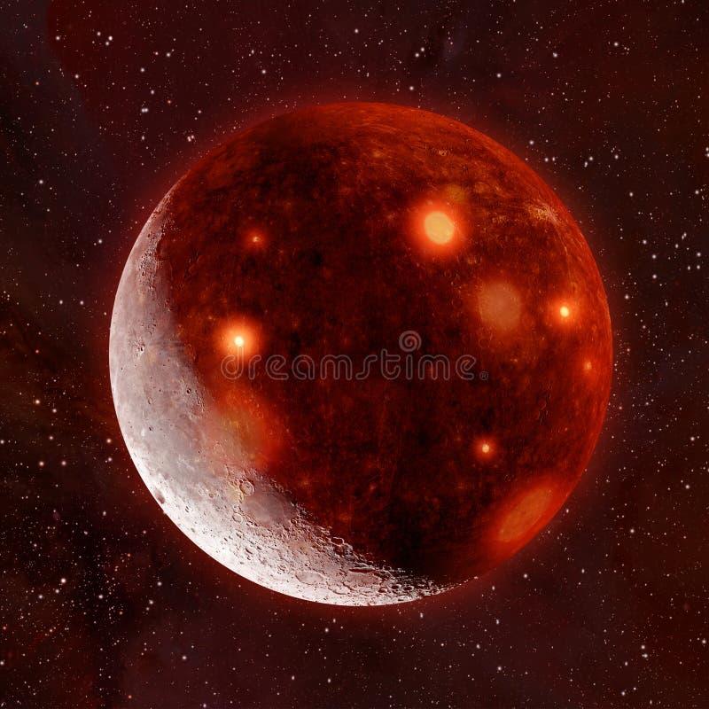 illustration 3D av helvetemånen royaltyfri fotografi